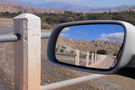 Car rear view mirror view